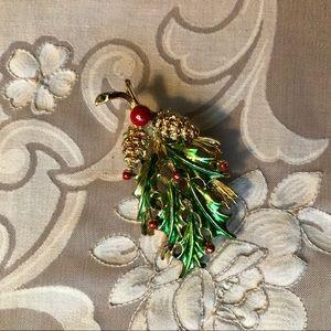 Vintage mistletoe brooch